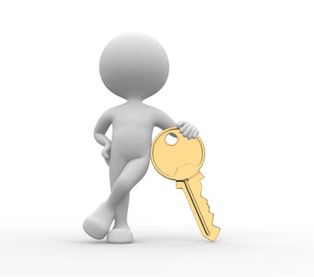 house keys: 3d people - men, person and a golden key Stock Photo