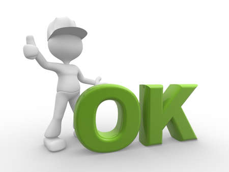 alright: 3d people - men, person and word ok