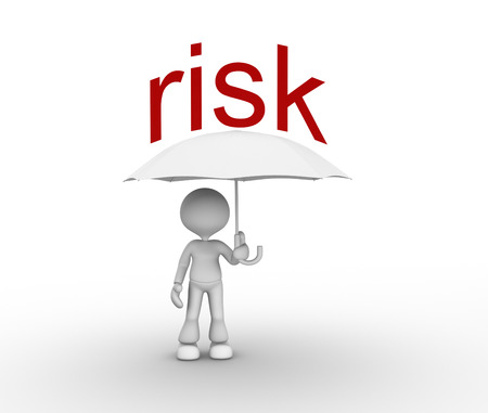 inconstant: 3d people - man, person with a umbrella. Risk Stock Photo