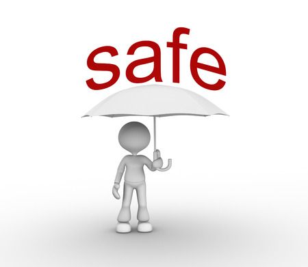 fall protection: 3d people - man, peson with a umbrella and. Safe concept