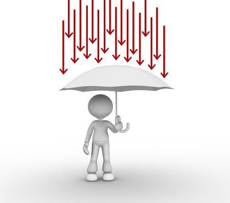 3d people - man, person with umbrella and arrows. Protection against problems  photo