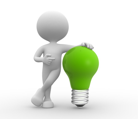 metal light bulb icon: 3d people - men, person with light-bulb