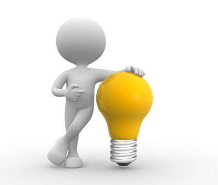 bulb idea: 3d people - men, person with light-bulb