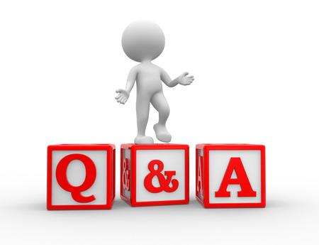 control de calidad: 3d gente - hombre, persona con cubos. Preguntas y Respuestas - Q & A Foto de archivo