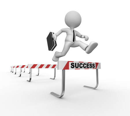3d people - man, person jumping over a hurdle obstacle entitled success  photo