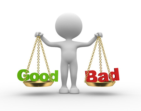 Les gens 3d - homme, personne avec des mots bons ou mauvais en équilibre