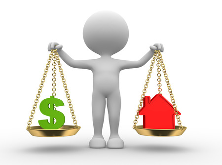 buy house: 3d people - man, person with a dollar sign or a house in balance
