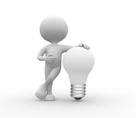 Peole 3d - hommes, personne ampoule blanche