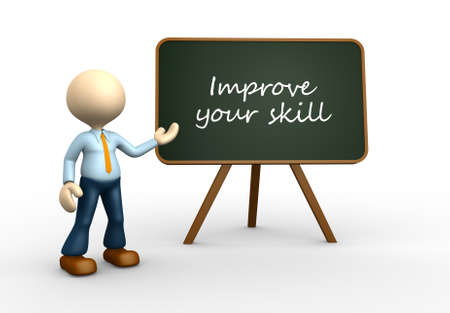 3d people - men, person with blackboard and text Improve your skill photo