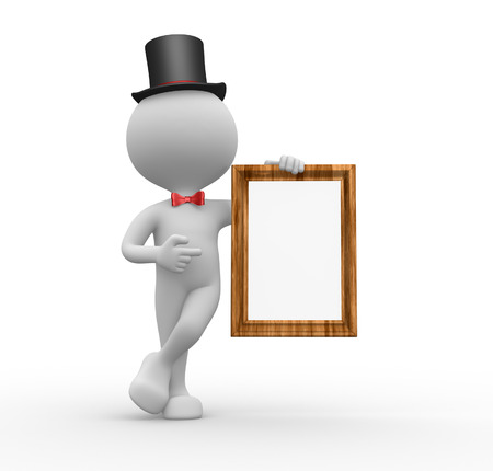 3d people - man, person holding blank board and pointing finger  photo