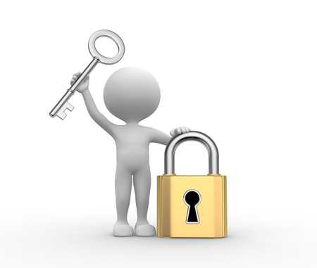 key success: 3d people - men, person with padlock and key Stock Photo