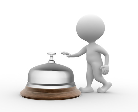 eagerness: 3d people - men, person and a service bell.