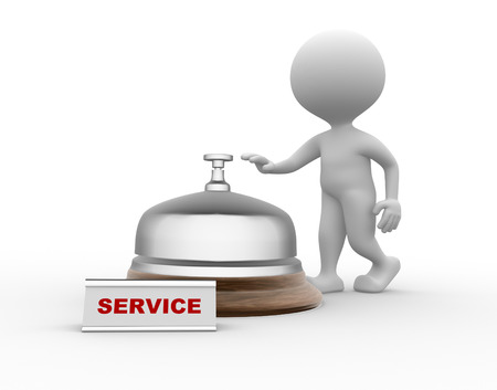eagerness: 3d people - men, person and a service bell.  Service Stock Photo