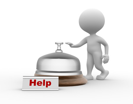 eagerness: 3d people - men, person and a service bell.  Help concept
