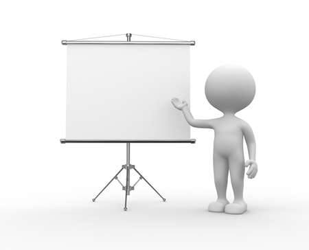 3d people - men, person and a flip chart photo