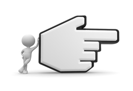3d people - man, person pointing with big mouse cursor photo