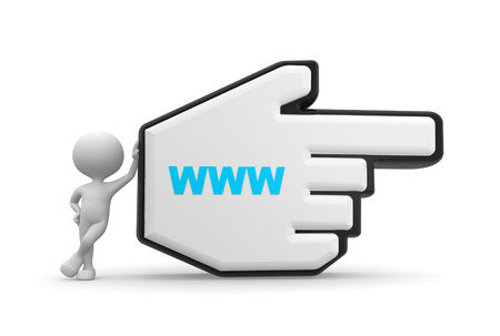 3d people - man, person pointing with big mouse cursor and www sign.  photo