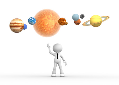 3d people - man, person with solar system photo
