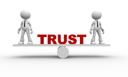 trust people: 3d people - man, person  and balance. Trust concept Stock Photo