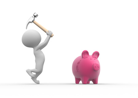 icon idea idiom illustration: 3d people - men, person breaking a piggy bank with a hammer  Stock Photo