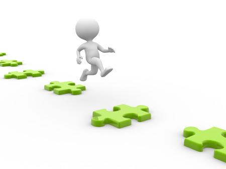 main part: 3d people - men, person  jumps on puzzles