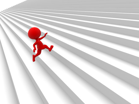 3d people  - man, person running up on stairs photo