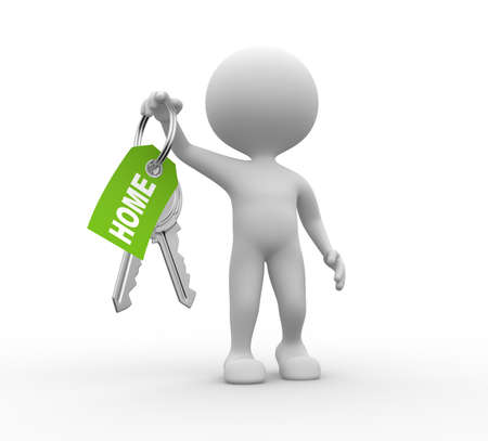 3d people - men, person with a key. Concept of give.   Stock Photo