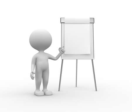 3d people - man, person with flip chart photo
