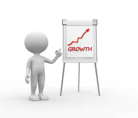 flipchart: 3d people - men, person with a flipchart and word growth