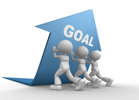 3d people - men, person pushing blue arrow. Concept of goal photo