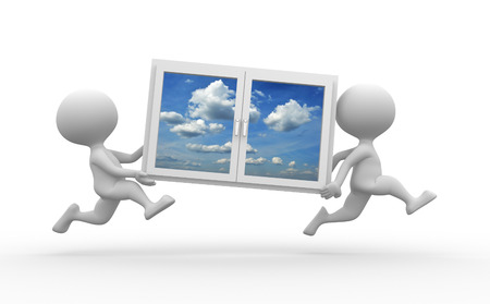 3d people - men, person carrying a window  photo