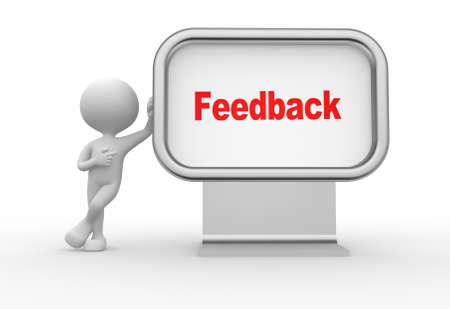 feedback icon: 3d people - man, person with advertising billboard and word feedback Stock Photo