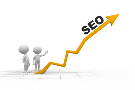 3d people - men, person and graph. SEO concept photo