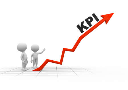 3d people - men, person and arrpw. KPI ( Key performance indicator)
