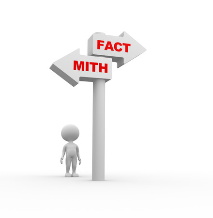 3d people - man, person and directional sign of facts versus myths  photo