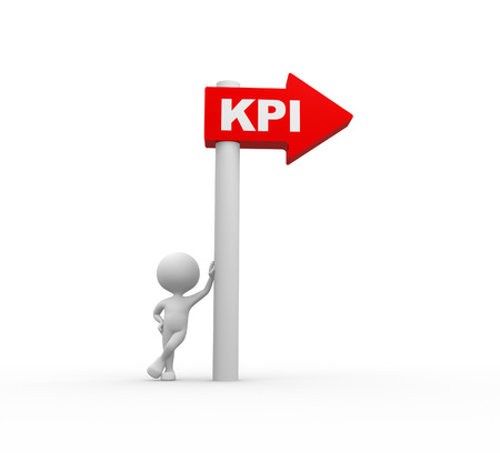 3d people - men, person and arrow. KPI ( Key performance indicator)  photo