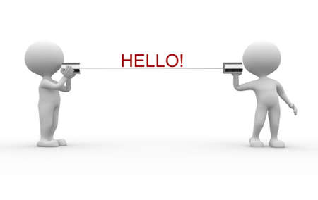 3d people - men, person talking on a homemade can phone. Hello! Stock Photo