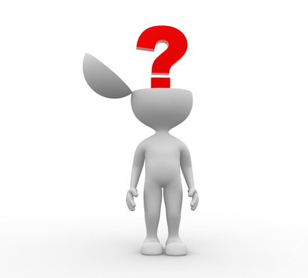 decide: 3d people - men, person and question mark Stock Photo