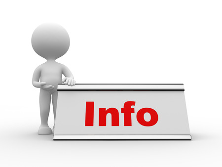 nameplate: 3d people - man, person  with nameplate and word Info. Information concept Stock Photo