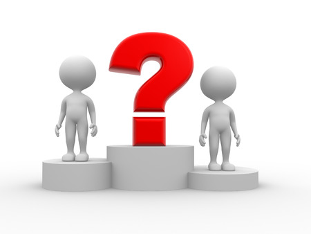 3d people - men, person on podium and question mark. The concept of business success  photo