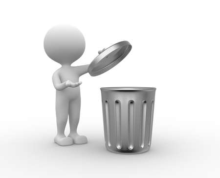 refuse: 3d people - man , person standing next to a trash can