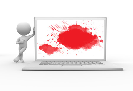 3d people - men, person with a laptop and an abstract painting Stock Photo - 26111549