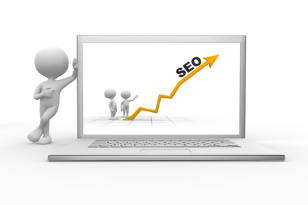 3d people - men, person with a laptop and graph financial. SEO concept  photo