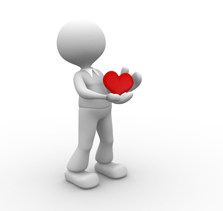 3d people - man, person holding heart in his hands  photo