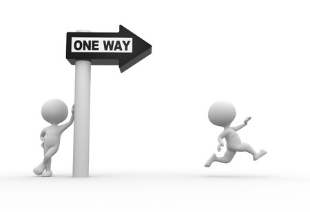 one way sign: 3d people - man, person with road sign and word ONE WAY