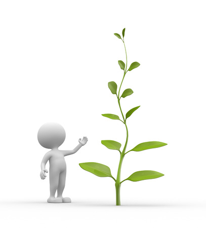 3d people - man, person with plant Stock Photo