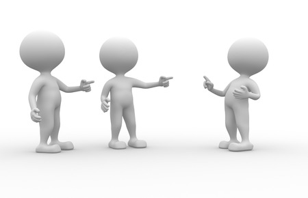 accusation: 3d people - men, person pointing another person