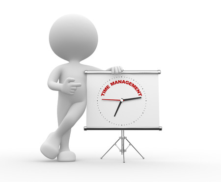 3d people - man, person  pointing a flipchart with a clock and text time to management