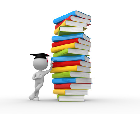 3d people - man, person and a stack of books. The concept of education photo