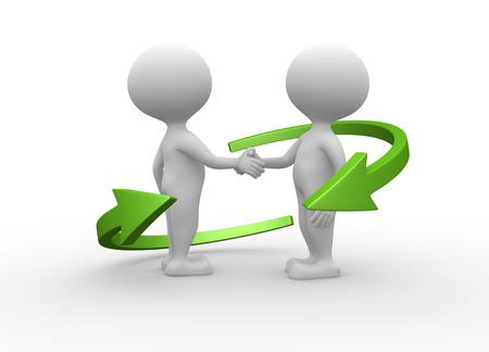 completed: 3d people - man, person friendly handshake. Businessmen  Stock Photo